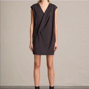 ALL SAINTS Aures Tie Wrap Sleeveless Tunic Dress